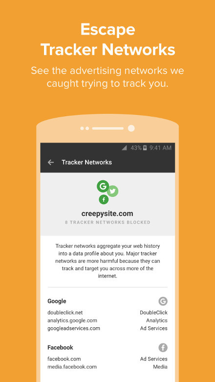 Screenshot of the DuckDuckGo Privacy Browser for Android