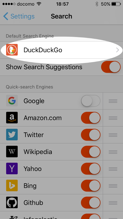 Brave mobile browser search engine selection page.