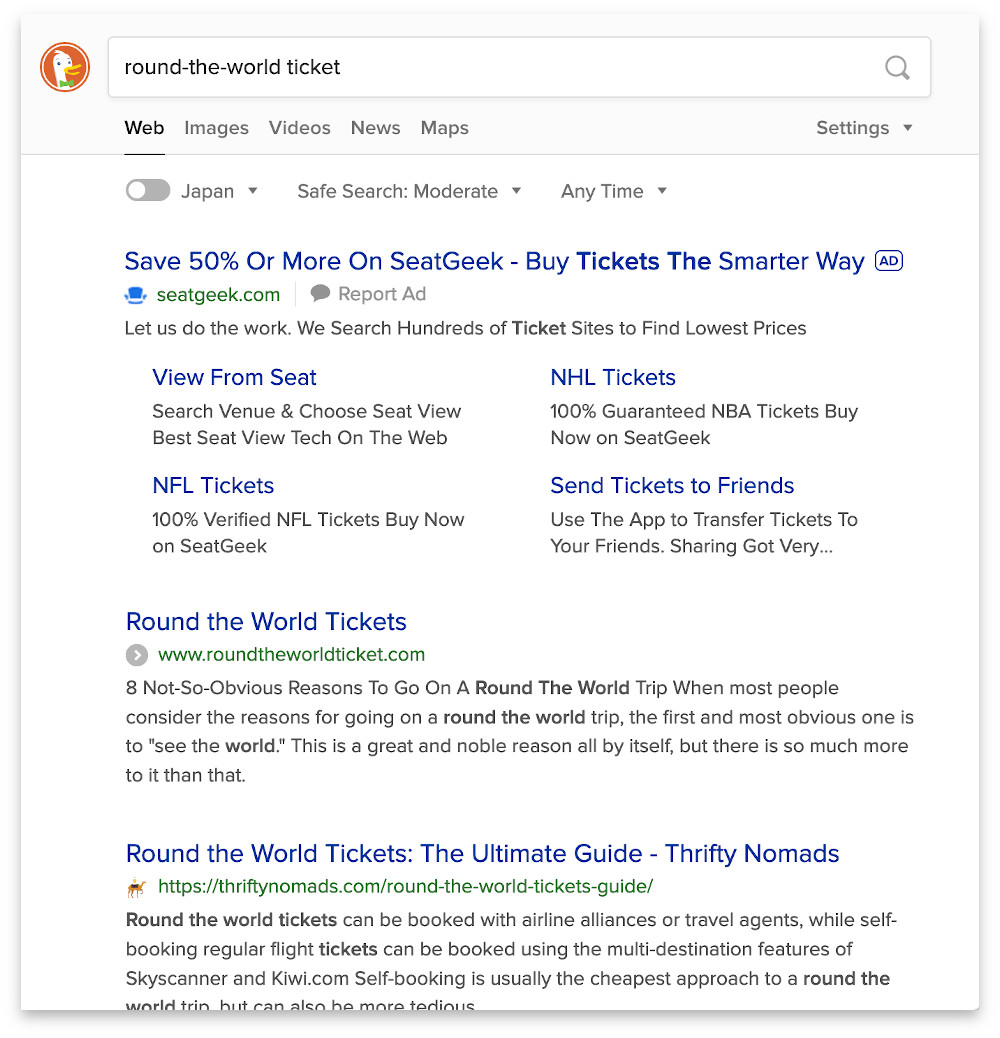 Screenshot showing ads in DuckDuckGo search results