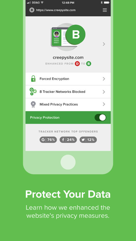 Screenshot of the DuckDuckGo Privacy Browser for iOS